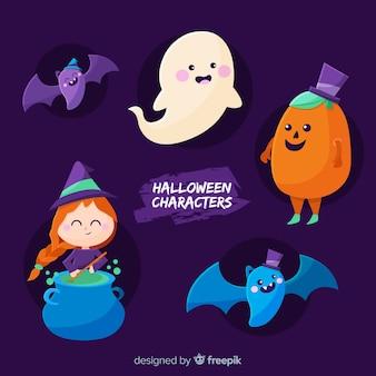 Sammlung halloween-charaktere auf flachem design