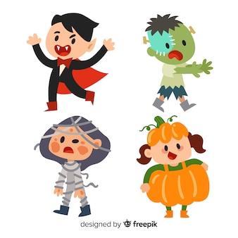 Sammlung halloween-kinderkostüme auf flachem design