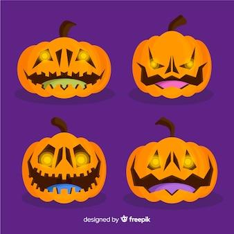 Sammlung halloween-orangenkürbise