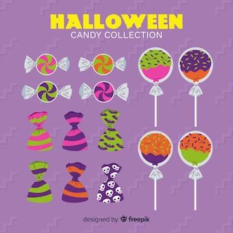 Sammlung halloween-süßigkeiten auf flachem design