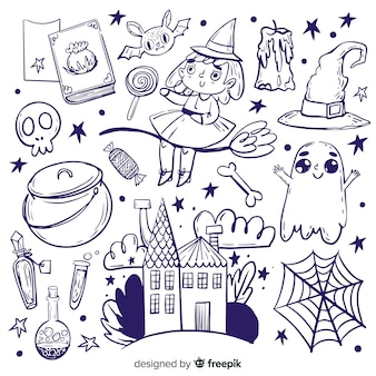 Sammlung hand gezeichnete halloween-elemente