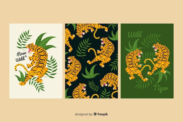 Sammlung hand gezeichnete tigerkarten