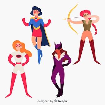 Sammlung hand gezeichnete weibliche superheldcharaktere