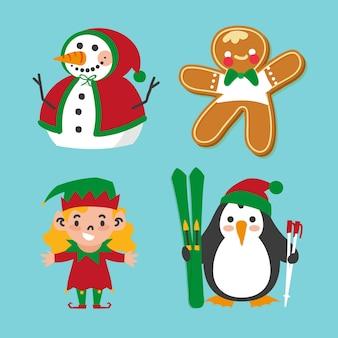 Sammlung hand gezeichnete weihnachtscharaktere