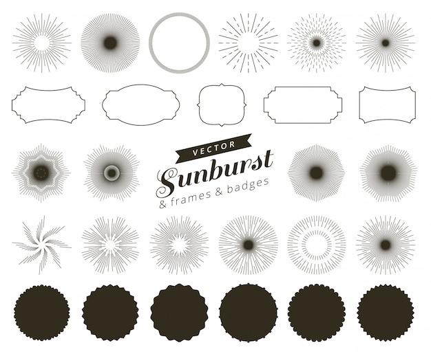 Sammlung hand gezeichneter retro- sonnendurchbruch, strahlengestaltungselemente berstend. rahmen, abzeichen.