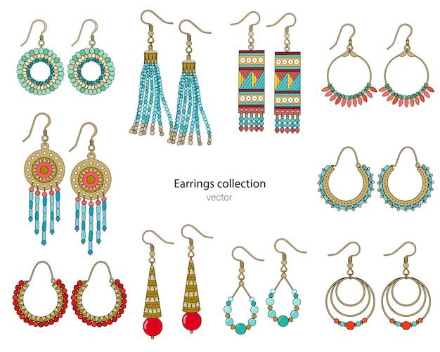 Sammlung handgefertigter ohrringe im ethnischen stil. farbabbildung lokalisiert auf einem weißen hintergrund.