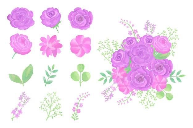 Sammlung handgemachter aquarellblumenblumenstrauß handgezeichnet