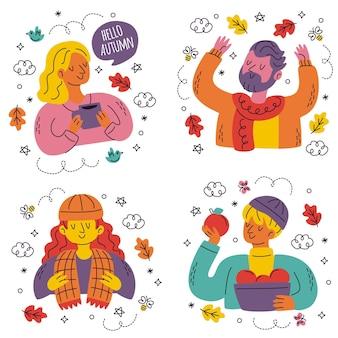 Sammlung handgezeichneter süßer herbstaufkleber