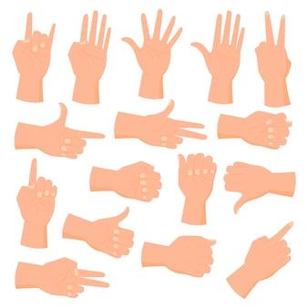 Sammlung handzeichen lokalisiert auf weißem hintergrund