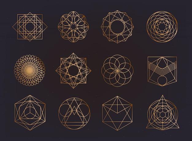 Sammlung heiliger geometriesymbole. hipster, abstrakt, alchemie, spirituelle, mystische elemente gesetzt.