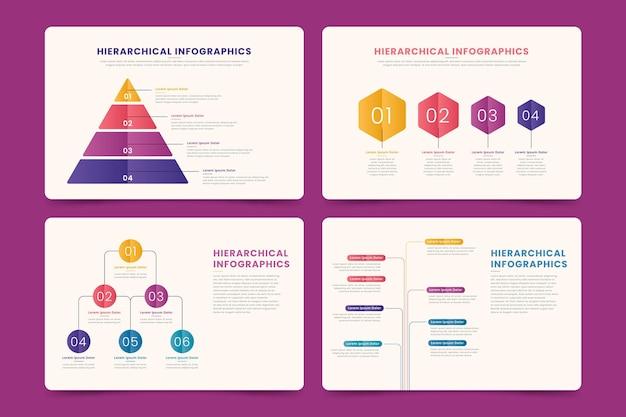 Sammlung hierarchischer infografiken