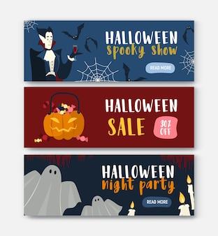 Sammlung horizontaler bannervorlagen mit halloween-figuren - vampir, kürbislaterne, geist