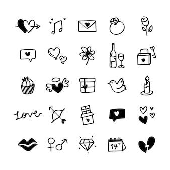 Sammlung illustrierte ikonen des valentinsgrußes