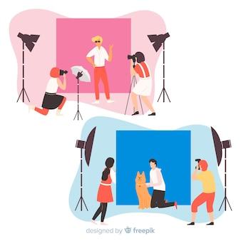 Sammlung illustrierter fotografen, die aufnahmen mit verschiedenen modellen machen
