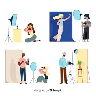Sammlung illustrierter fotografen, die aufnahmen von verschiedenen modellen machen