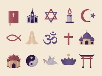 Sammlung illustrierter religiöser Symbole