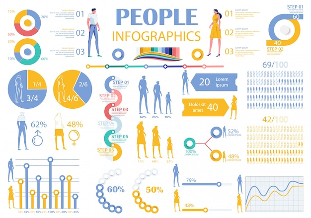 Sammlung infografik people elements mann, frau.