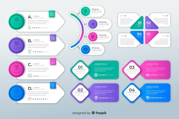 Sammlung infographic elemente des flachen designs