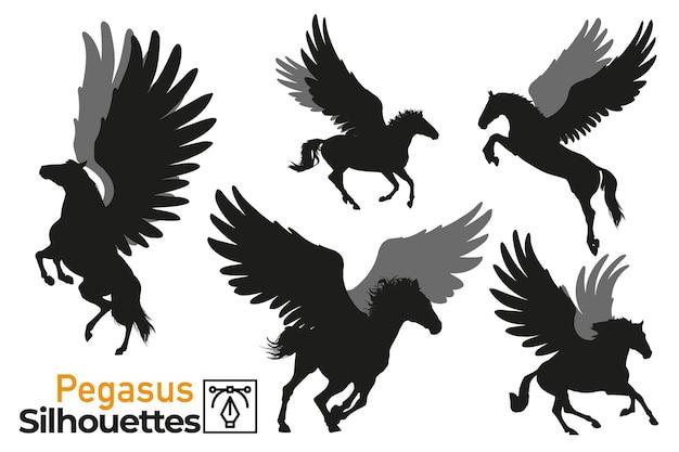 Sammlung isolierter silhouetten von wildem pegasus in verschiedenen posen
