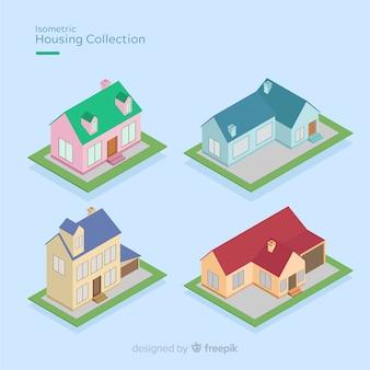 Sammlung isometrische häuser