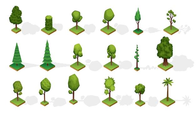 Sammlung isometrischer bäume mit schatten