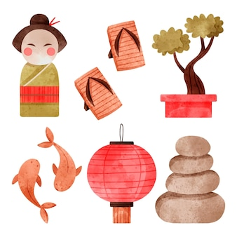 Sammlung japanischer aquarellelemente