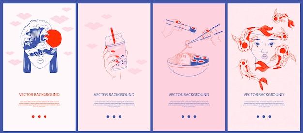 Sammlung japanischer illustrationen für geschichtenvorlagen, mobile app