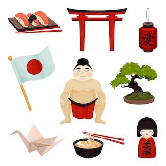 Sammlung japanischer souvenirs und accessoires. illustration auf weißem hintergrund.