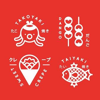 Sammlung japanischer street food-logos