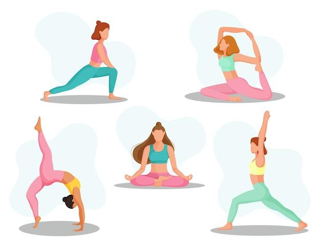 Sammlung junger frauen, die yogaübungen machen. körperliche und geistige praxis.