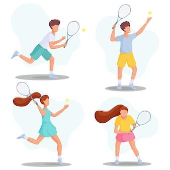 Sammlung junger leute, die tennis spielen. sportkonzept. flache illustration.