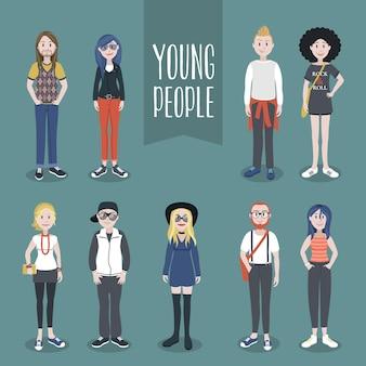 Sammlung junger leute