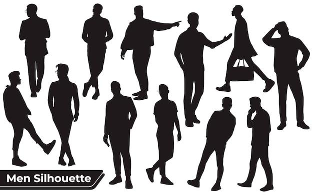 Sammlung junger mann- oder geschäftsmann-silhouetten in verschiedenen posen