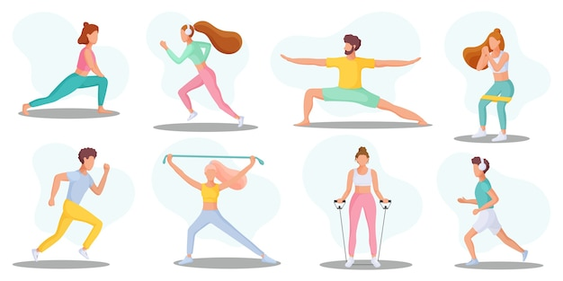 Sammlung junger menschen, die sportliche aktivitäten ausüben. gesunder lebensstil. illustration.