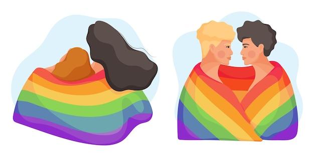 Sammlung junger paare, die mit regenbogenfahne umarmen. konzept der gleichberechtigung für die lgbt-gemeinschaft. illustration.
