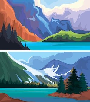 Sammlung kanadischer landschaften.