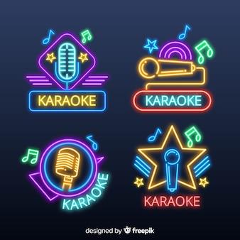 Sammlung karaoke-neonlichter