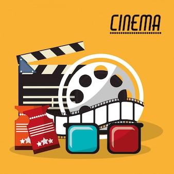 Sammlung kino filmrolle streifen gläser und tickets