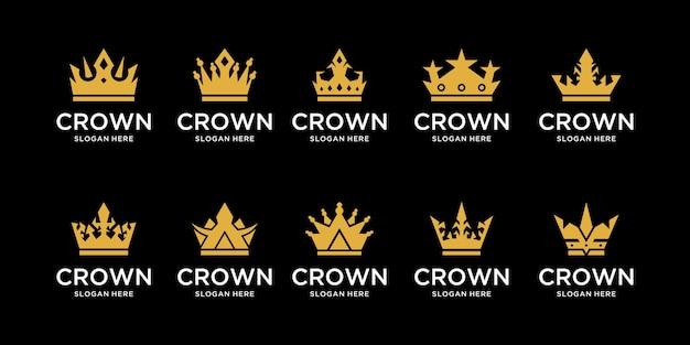 Sammlung königlicher kronen in goldfarbe