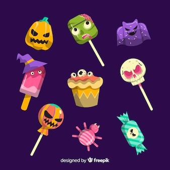 Sammlung köstliche süßigkeiten halloweens