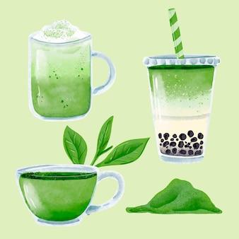 Sammlung köstlicher möglichkeiten, matcha-tee zu trinken