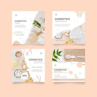 Sammlung kosmetischer instagram-beiträge