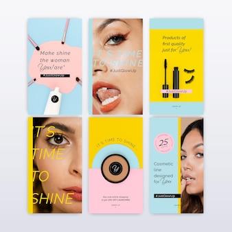Sammlung kosmetischer instagram-geschichten