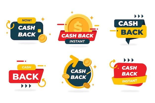 Sammlung kreativer cashback-labels