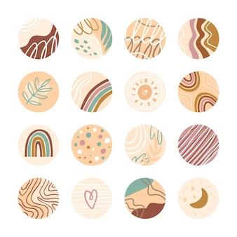Sammlung kreativer instagram-highlights
