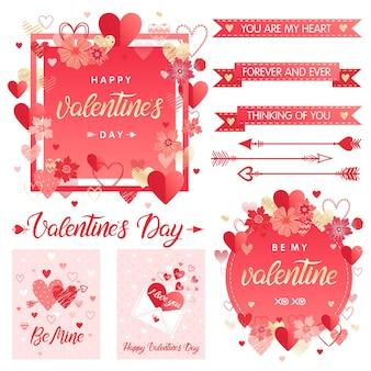 Sammlung kreativer valentinstagskarten und -elemente.