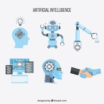Sammlung künstlicher Intelligenzelemente in der flachen Art