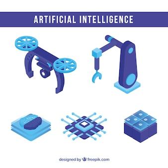 Sammlung künstlicher Intelligenzelemente in der isometrischen Art