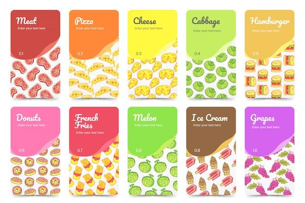 Sammlung lebensmittelkarten