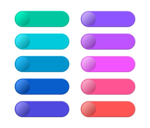 Sammlung leere vorlage von web-schaltflächen. moderne mehrfarbige schaltflächen für die website.